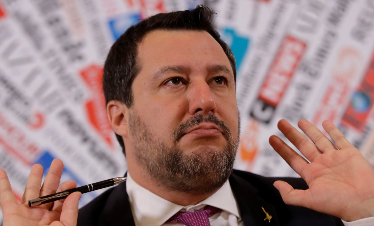 Opposition populist leader Matteo Salvini gestures during press conference at the Foreign Press association, in Rome, Thursday, Feb. 13, 2020. The Italian Senate voted by a large margin Wednesday to allow the prosecution of Salvini for making 131 rescued migrants to remain on a coast guard vessel for days when he was Italy's interior minister. (AP Photo/Alessandra Tarantino)