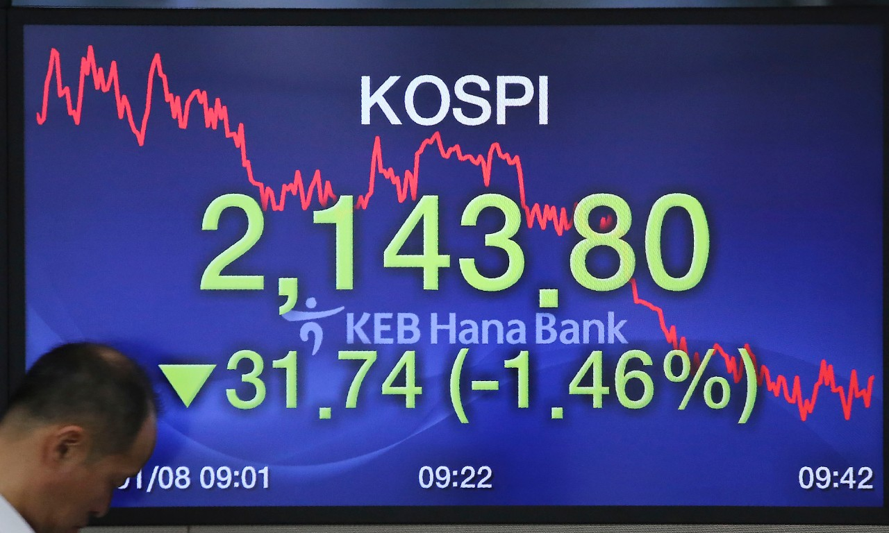 A currency trader passes by a screen showing the KOSPI, Korea Composite Stock Price Index, at the foreign exchange dealing room of the KEB Hana Bank headquarters in Seoul, South Korea, Wednesday, Jan. 8, 2020. Oil prices rose and Asian stock markets fell Wednesday after Iran fired missiles at U.S. bases in Iraq in retaliation for the killing of an Iranian general. (AP Photo/Ahn Young-joon)