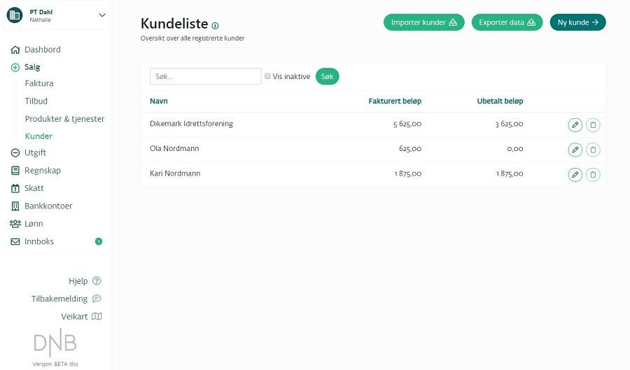 DNB Regnskap-kundeoversikt