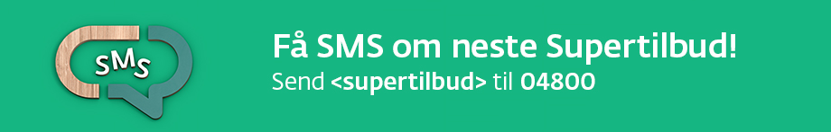 F SMS om neste Supertilbud - send <supertilbud> til 04800