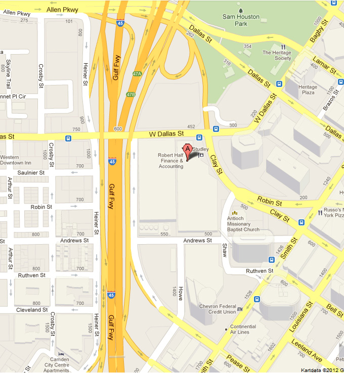 Location map of the DNB Houston office