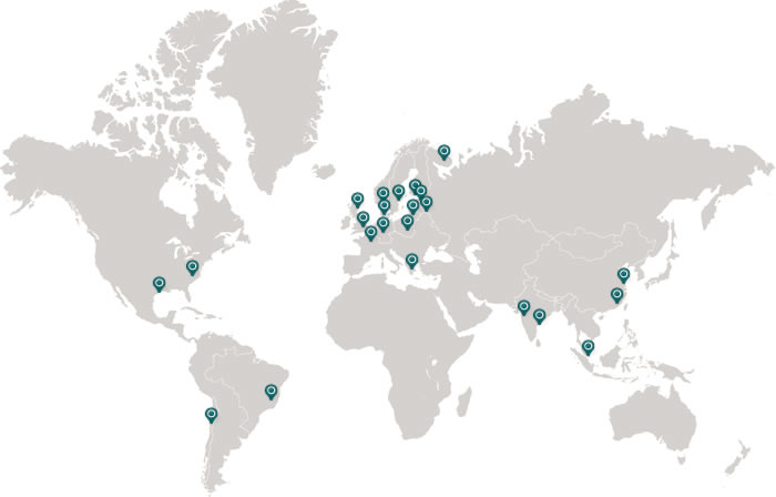 DNB offices in worldmap